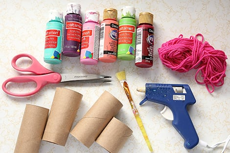 everything you'll need to make a toilet paper roll heart garland