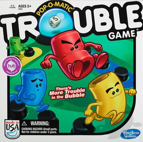 The box of the game Trouble.