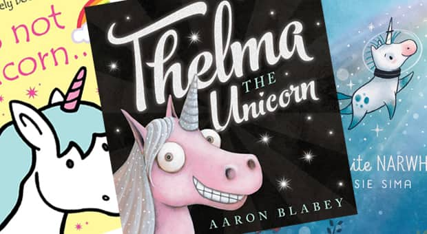 a collection of unicorn themed books