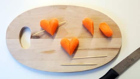 Carrots cut into hearts, as described.