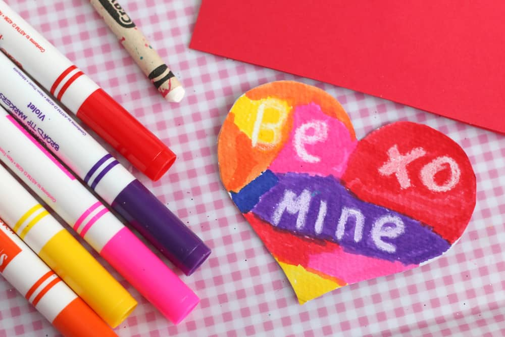 A bright a colourful wax resist Valentine's Day card.