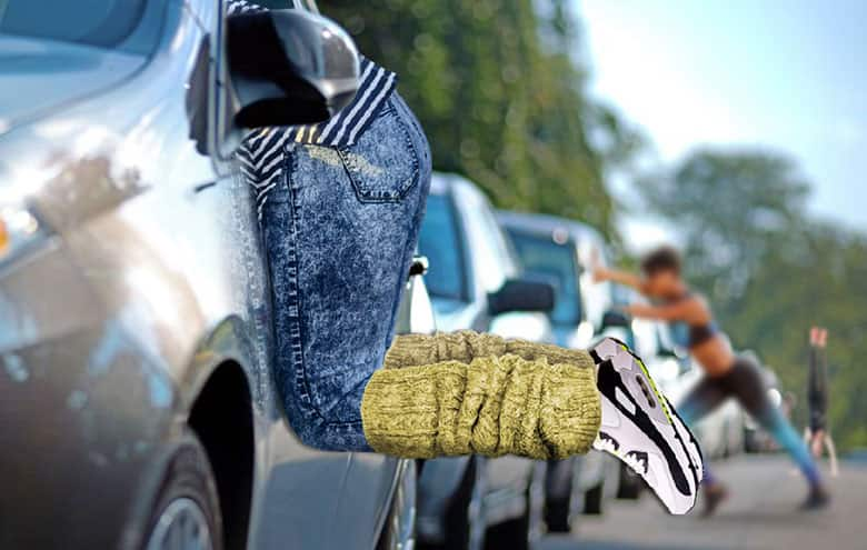 A stock-photo collage of a woman hanging out of a car window from the waist down, wearing jeans with leg-warmers and running shoes. Two other people work out in the background next to their cars.