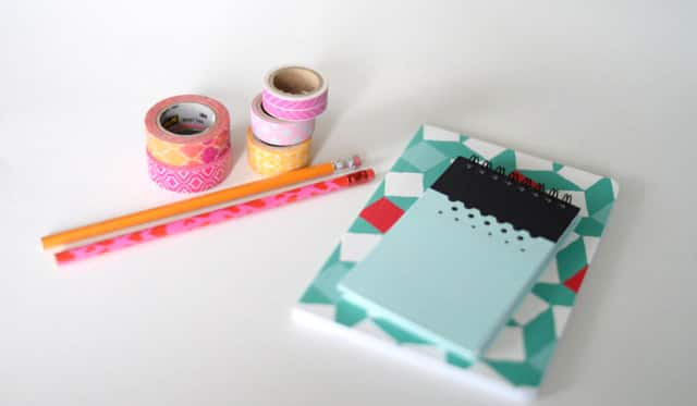 Washi tape, pencils and notebooks.