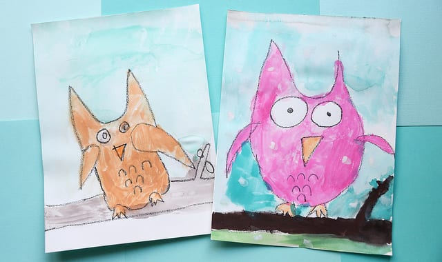 2 finished owl paintings.