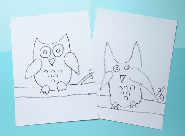 Outline drawings of two owls