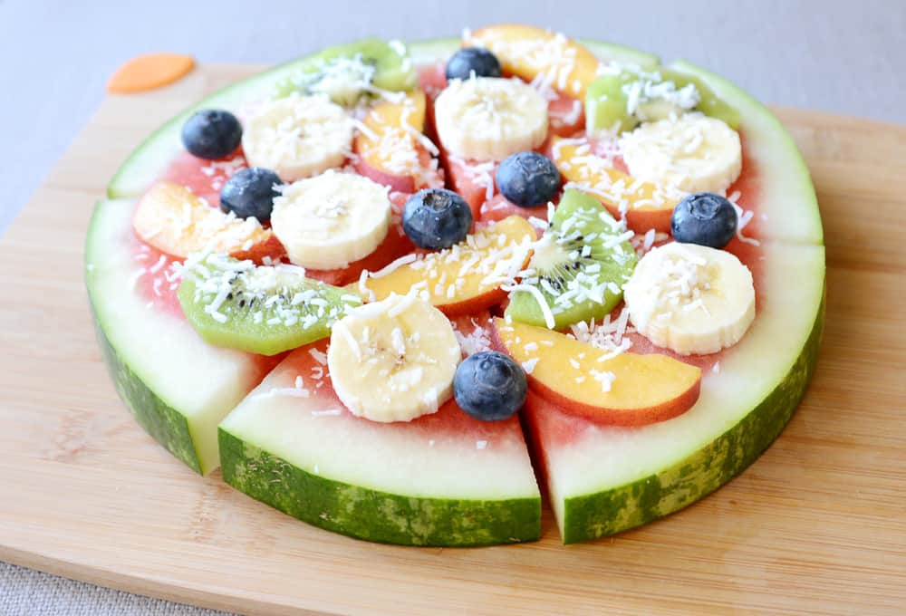 A completed watermelon pizza.