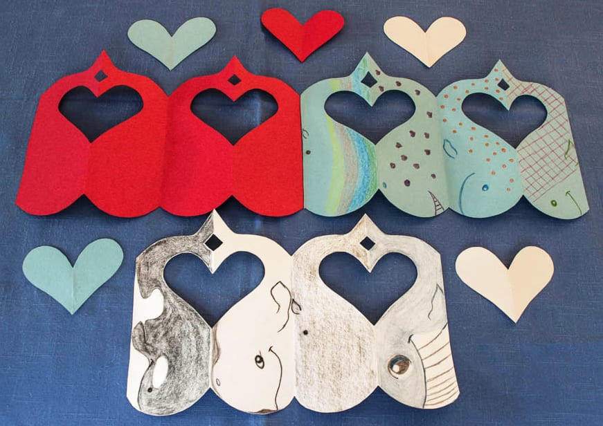 Finished whales and hearts garlands.