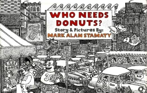 Book cover: An intricate black and white drawing of a city street with cars, buses, birds, buildings and a book shop. On a billboard with red letters reads the title,