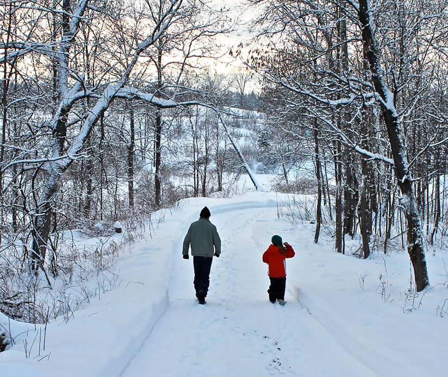 A parent and child walk in the winter woods