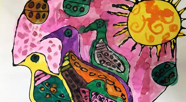 A woodland-style painting of birds created by kids.