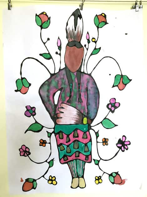 A woman painted in woodland style with resistance watercolours.