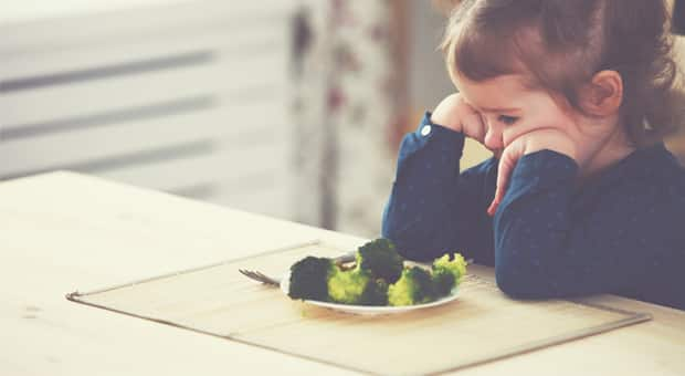 young girl stares at plate of broccoli