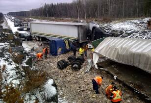 An overview of the Highway 11 crash site.