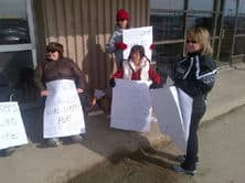 Co-op workers in Lab City on strike.jpg