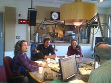 Graduate Students Danny Wadden, Farell Cahill and Dr. Guang Son in our radio Non Studio