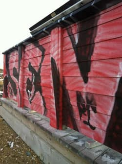 The graffiti left at a Signal Hill platform identifies the sprayed message as the work of RC or Rong Crew(CBC ).jpg