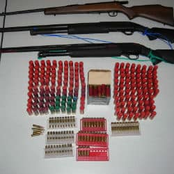 RCMP seized two unsecured shotguns, a large quantity of ammunition and several lighters in a house in Natuashish on Wednesday night. (RCMP).jpg