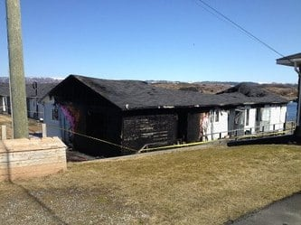 Fire destroyed much of a 12-unit apartment complex in Port aux Basques on Monday morning. (RCMP).jpg