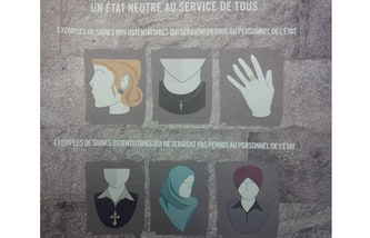 An image from a press package that identifies some of the religious symbols allowed, not allowed, as part of the Quebec government's proposed Charter of values, detailed in a press conference Sept. 10, 2013