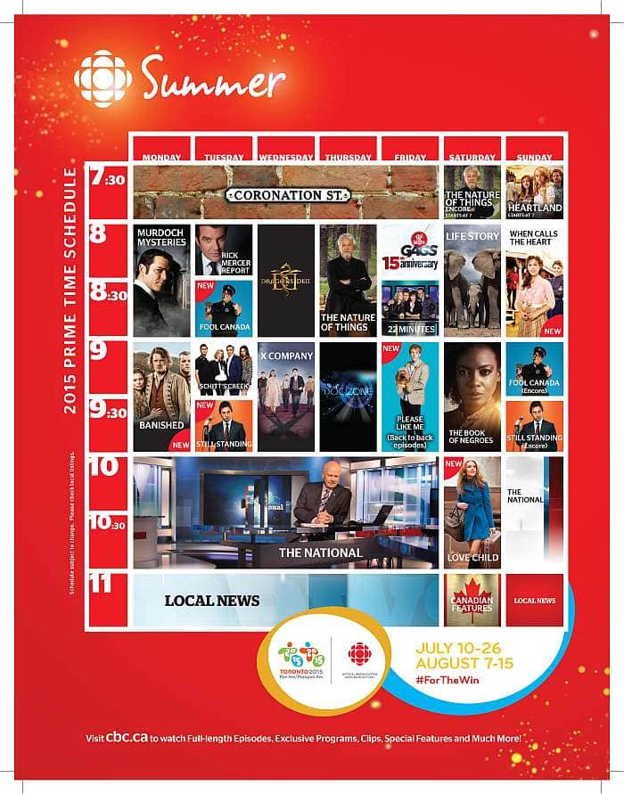 CBC Summer 2015 Primetime Schedule