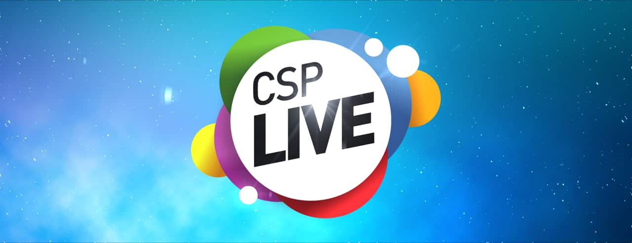 Blue background with logo that reads CSP LIVE.