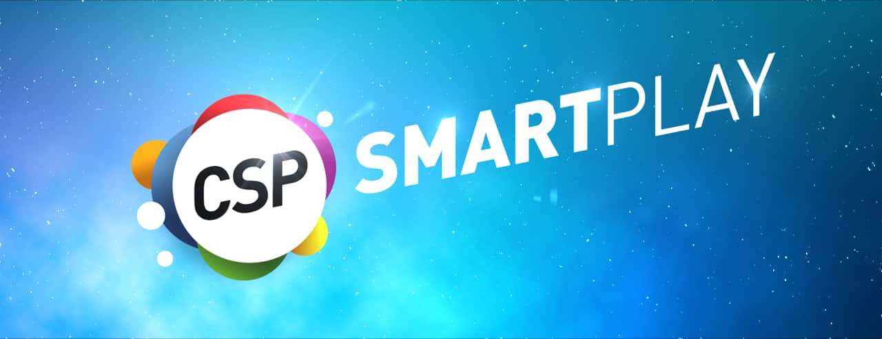 Blue background with logo that reads CSP SmartPlay.