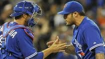 Prior to his solid ninth-inning performance in Wednesday's series-clinching 3-1 win over Boston, closer Sergio Santos had been rekindling memories of the shaky Bill Caudill for longtime Blue Jays fans. (Brad White/Getty Images)