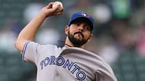 In six starts as an injury fill-in this season, Blue Jays' Carlos Villanueva has recorded four wins and a 3.19 earned-run average and his July performance (4-0, 1.93 ERA) earned him Blue Jays player of the month honours by the Toronto chapter of the Baseball Writers' Association of America. (Otto Greule Jr/Getty Images)