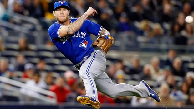 Blue Jays third baseman Brett Lawrie of Langley, B.C., has been spectacular in the field, but is struggling mightily at the plate. (Jim McIsaac/Getty Images)