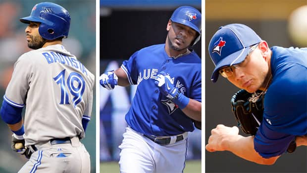 Toronto players (from left), Jose Bautista, Edwin Encarnacion, and Brett Cecil will represent the Blue Jays at the 2013 MLB All Star Game in New York. (Getty Images)