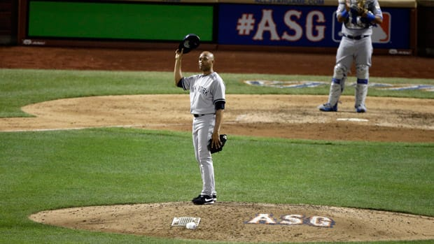 New York Yankees closer Mariano Rivera is no stranger to All-Star Games, and he acknowledges the crowd as he is introduced during the eighth inning of the Midsummer Classic on Tuesday in New York for the final time in his career. (Frank Franklin II/Associated Press)