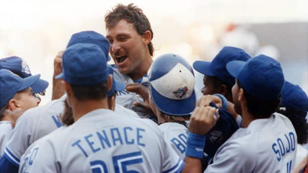 Toronto Blue Jays pitcher Dave Stieb is congratulated by teammates after pitching a no-hitter against the Cleveland Indians in Cleveland on Sept. 2, 1990. That performance still stands as the lone no-hitter in Blue Jays history. (Tony Dejak/Canadian Press)