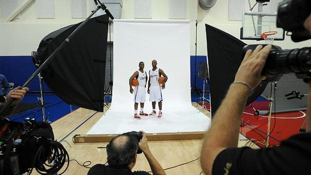 Chris Paul, left, and Chauncey Billups, right, of the Los Angeles Clippers pose for a photo at the Clippers Training Center. Paul and Billups are the newest additions to the Clippers, and Paul could just be the player to take them from fun-to-watch, to trophy-worthy this year. (Evan Gole/NBAE/Getty Images)