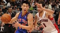 Jeremy Lin (17) of the Knicks dribbles past opposing point guard Jose Calderon in a 90-87 win over the Raptors on Tuesday. (Ron Turenne/Getty Images)