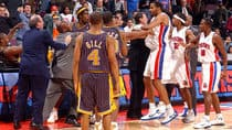 In this photo from the infamous Pacers vs. Pistons brawl, Ron Artest, left, and other members of the Indiana Pacers scuffle with members of the Detroit Pistons during a melee involving fans at a game against the Detroit Pistons Nov. 19, 2004 (Allen Einstein/NBAE/Getty Images)