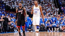Miami Heat forward LeBron James, left, and Oklahoma City Thunder superstar Kevin Durant are just two reasons NBA fans should be paying attention to the Finals. (Andrew D. Bernstein/NBAE via Getty Images)
