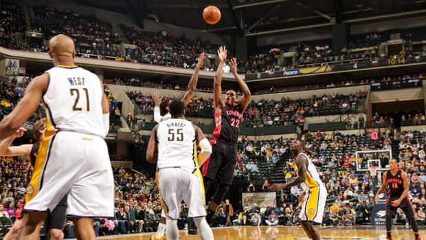 Rudy Gay's late-game heroics helped propel the Toronto Raptors past the Indiana Pacers in overtime on Friday night. (Ron Hoskins/NBAE via Getty Images)
