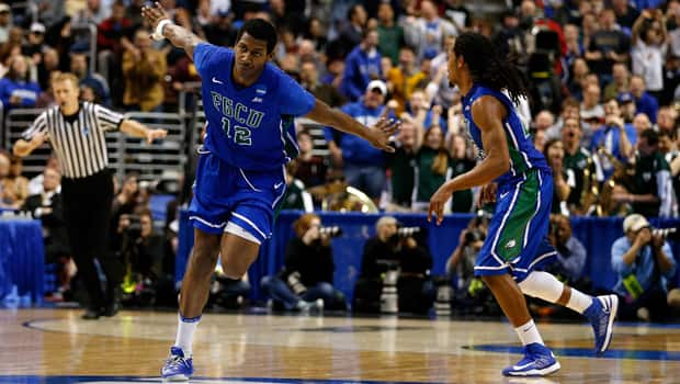 Eric McKnight (12) and the unheralded Florida Gulf Coast Eagles have soared to new heights in the NCAA men's tournament. (Rob Carr/Getty Images)