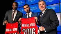 Toronto Raptors GM Masai Uriji (left to right), Raptors global ambassador Drake and Maple Leaf Sports and Entertainment President and CEO Tim Leiweke are hoping to be able to attract more big-name free agents to Toronto.