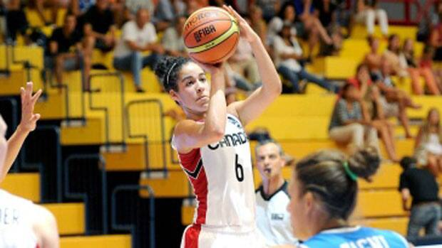 After a rough 2-for-12 shooting outing against Jamaica in Canada's first contest this past week, point guard Kia Nurse has improved each game, helping the team to a 4-0 record in the preliminary round at the FIBA America's tournament. (Courtesy FIBA)