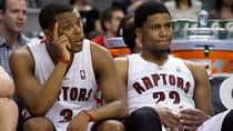 With the Toronto Raptors dealing small forward Rudy Gay, right, to the Sacramento Kings on Monday, rumours have swirled around Kyle Lowry's future as well. (Frank Gunn/Canadian Press)
