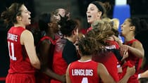Players of Canada's national women basketball celebrate their impressive victory over the Czech Republic at the FIBA world championship Wednesday in Ankara, Turkey. The women advance to the quarter-finals on Friday against Australia. (Mehmet Murat Onel/Anadolu Agency/Getty Images)