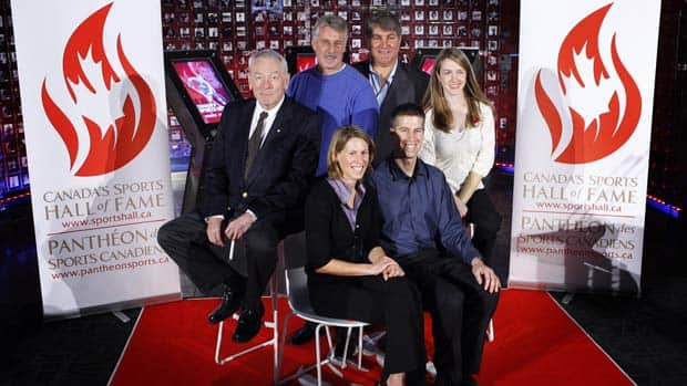 Canada's Sports Hall of Fame 2011 inductees, left to right, Dick Pound, Lui Passaglia, Andrea Neil, Ray Bourque, Peter Reid and Lauren Woolstencroft. (Jeff McIntosh/Canadian Press)
