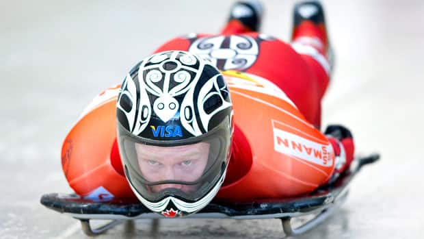 Canada's Jon Montgomery, the 2010 Olympic gold medallist in skeleton, races down the track during World Cup competition last season. Montgomery, who spearheaded Bobsleigh Canada Skeleton's campaign search for a new title sponsor this month, is taking the season off to test equipment in hopes of a run in Sochi 2014. (Jeff McIntosh/Canadian Press)