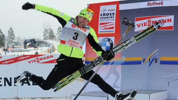 Canada's Devon Kershaw is a star in ski-loving European countries like Russia, where he celebrated a victory in a World Cup 15 km mass start race in February. (Natalia Kolesnikova/AFP/Getty Images)