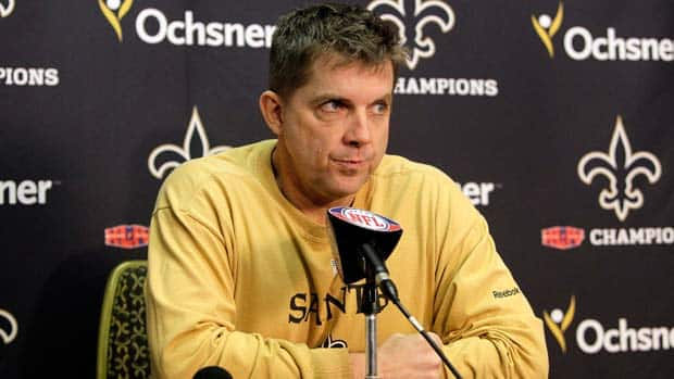 New Orleans Saints coach Sean Payton received a one-year ban by the NFL for his cover up of his players who were paid bounties for big hits on opponents from 2009-11. (Patrick Semansky/Associated Press)