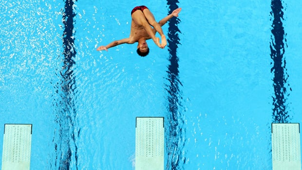 Alexandre Despatie of Laval, Que., is considered a medal contender in men's springboard at the upcoming London Olympics. (Matt King/Getty Images)
