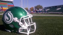 The Riffel Royals practice Tuesday at Mosaic Stadium in Regina, home of the Saskatchewan Roughriders.