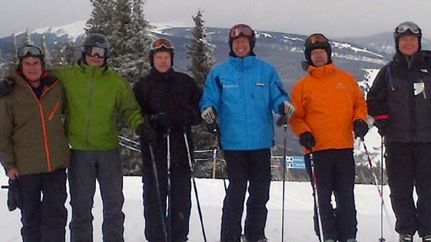 CBC Sports Weekend host Scott Russell, centre, is accompanied by five lifelong friends on a dream excursion to Vail, Colo. (Photo courtesy Scott Russell)
