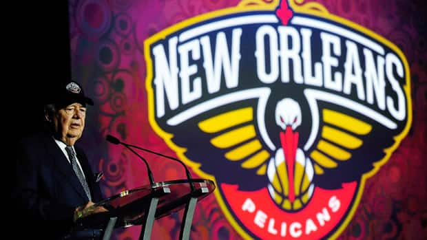 Tom Benson, owner of the New Orleans Pelicans, speaks at a press conference to announce the name change of the team from the Hornets to the Pelicans on Thursday. (Stacy Revere/Getty Images)